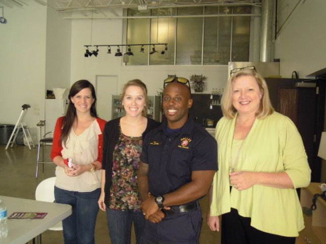 Betsy, Rashel, and Teri with Officer Anthony for our Fire Safety Presentation- 09.10.12. Thank you Dallas Fire Department!