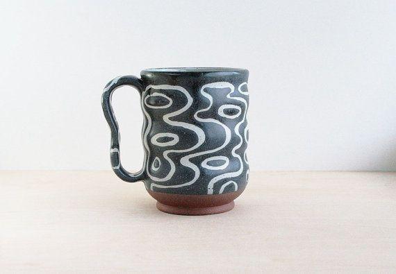 Handmade Modern Pottery Mug, Charcoal and White Glaze