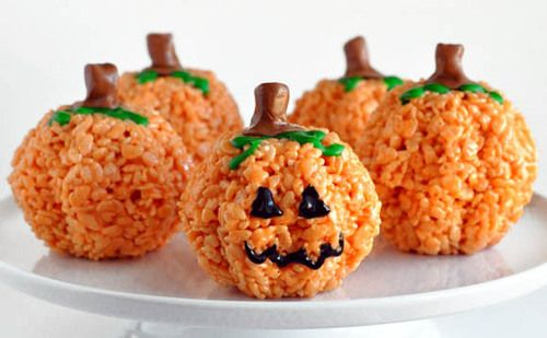no recipe what a great halloween treat idea rice krispie treats can be easily coloured molded and decorated