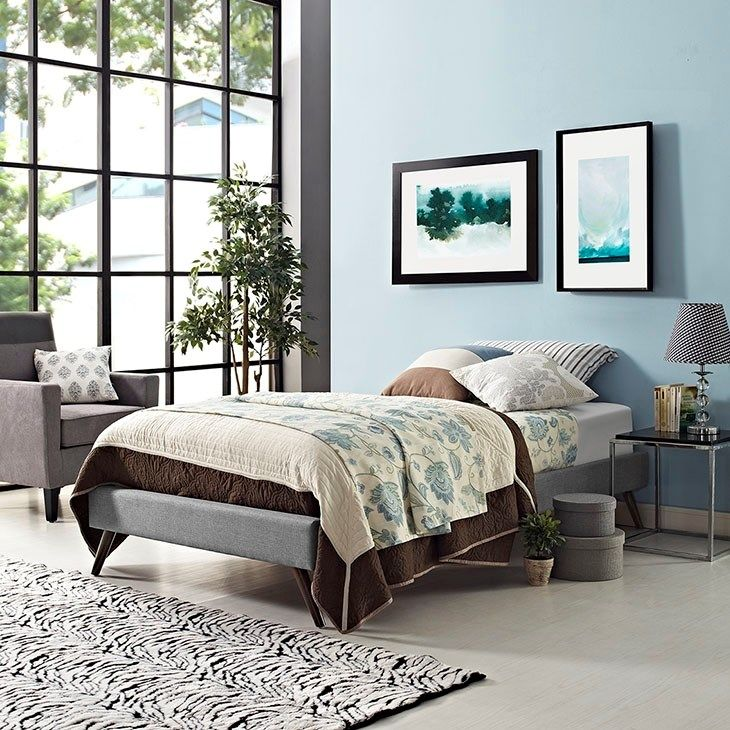 Helen Twin Fabric Bed Frame with Round Splayed Legs in Light Gray ...
