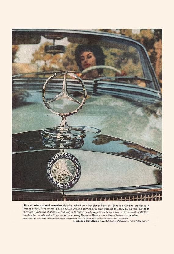VINTAGE MERCEDES BENZ Car Ad – Vintage Car Ad, Retro Car Ad, Mid Century Ad, 50's Car Poster, Classic Car Ad, Retro Car Poster, Ribba