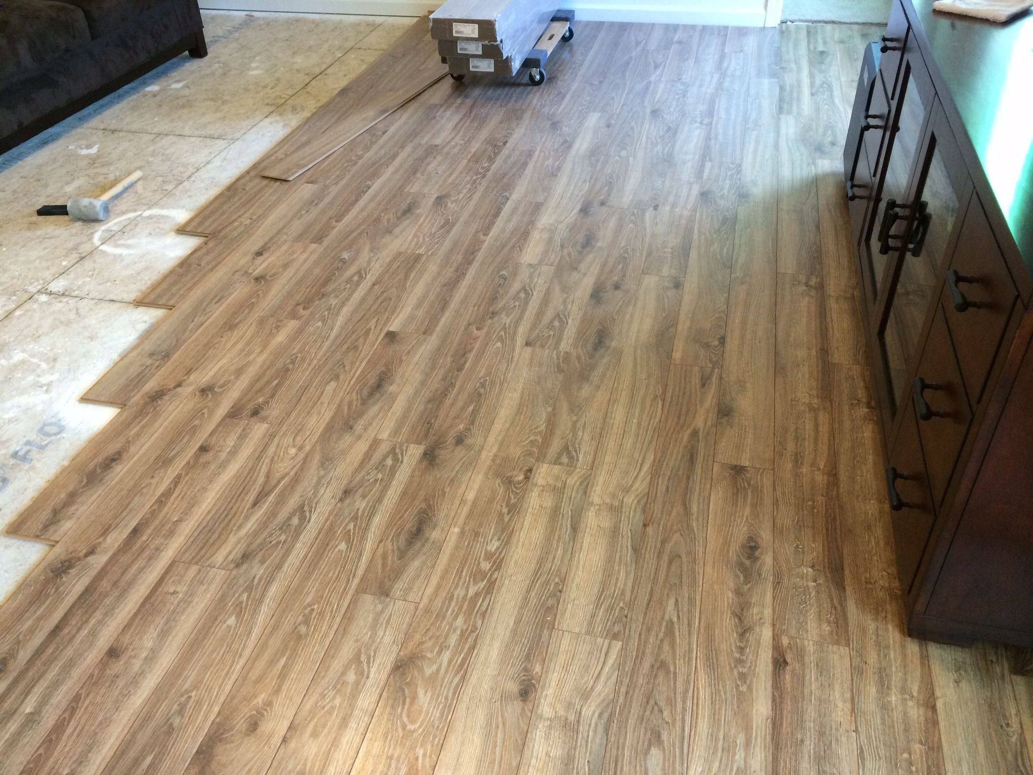 Floor coming along. Lowe's allen + roth driftwood oak