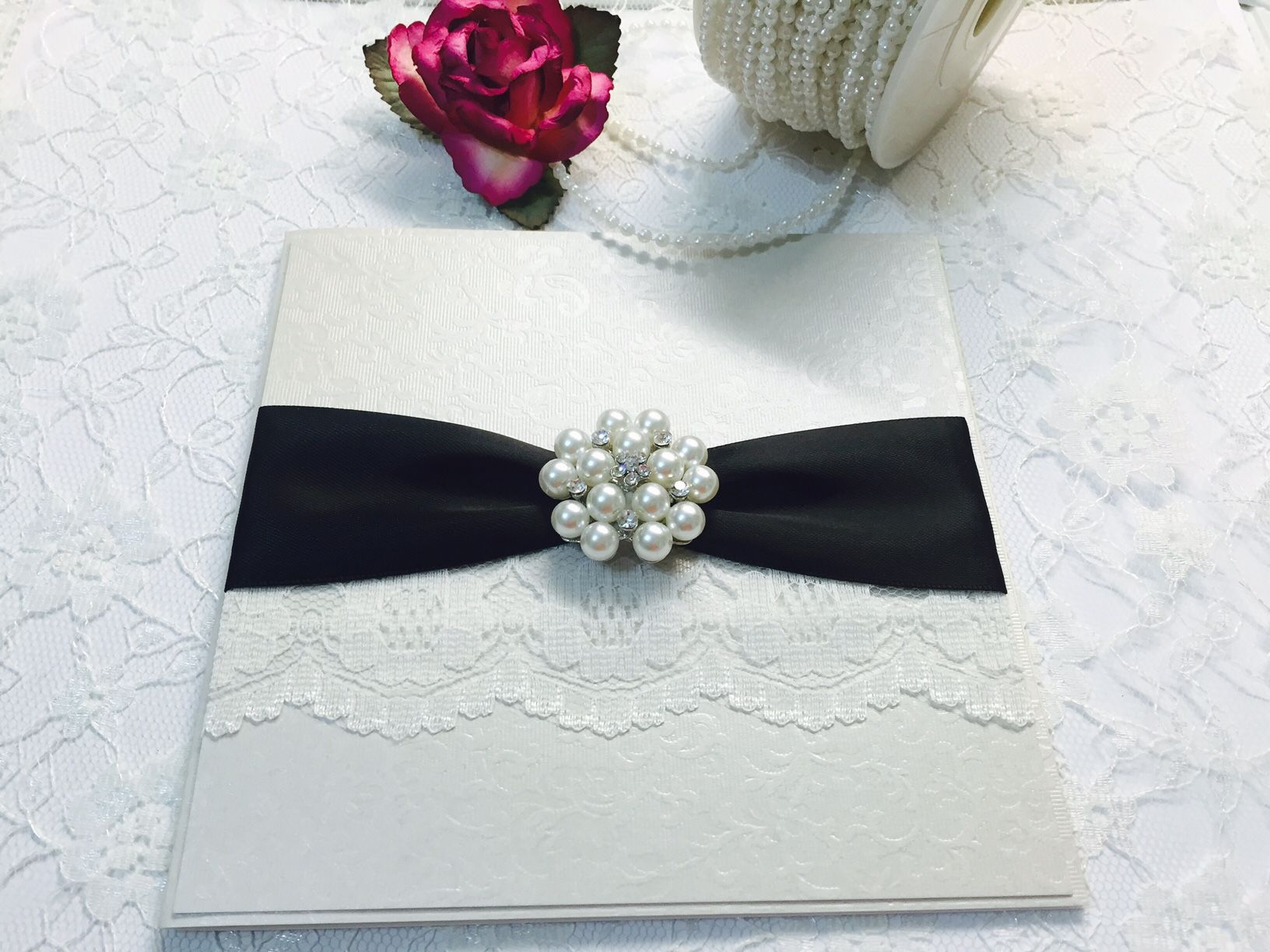 Luxury boxed wedding invitation vintage style with lace and pearl ...