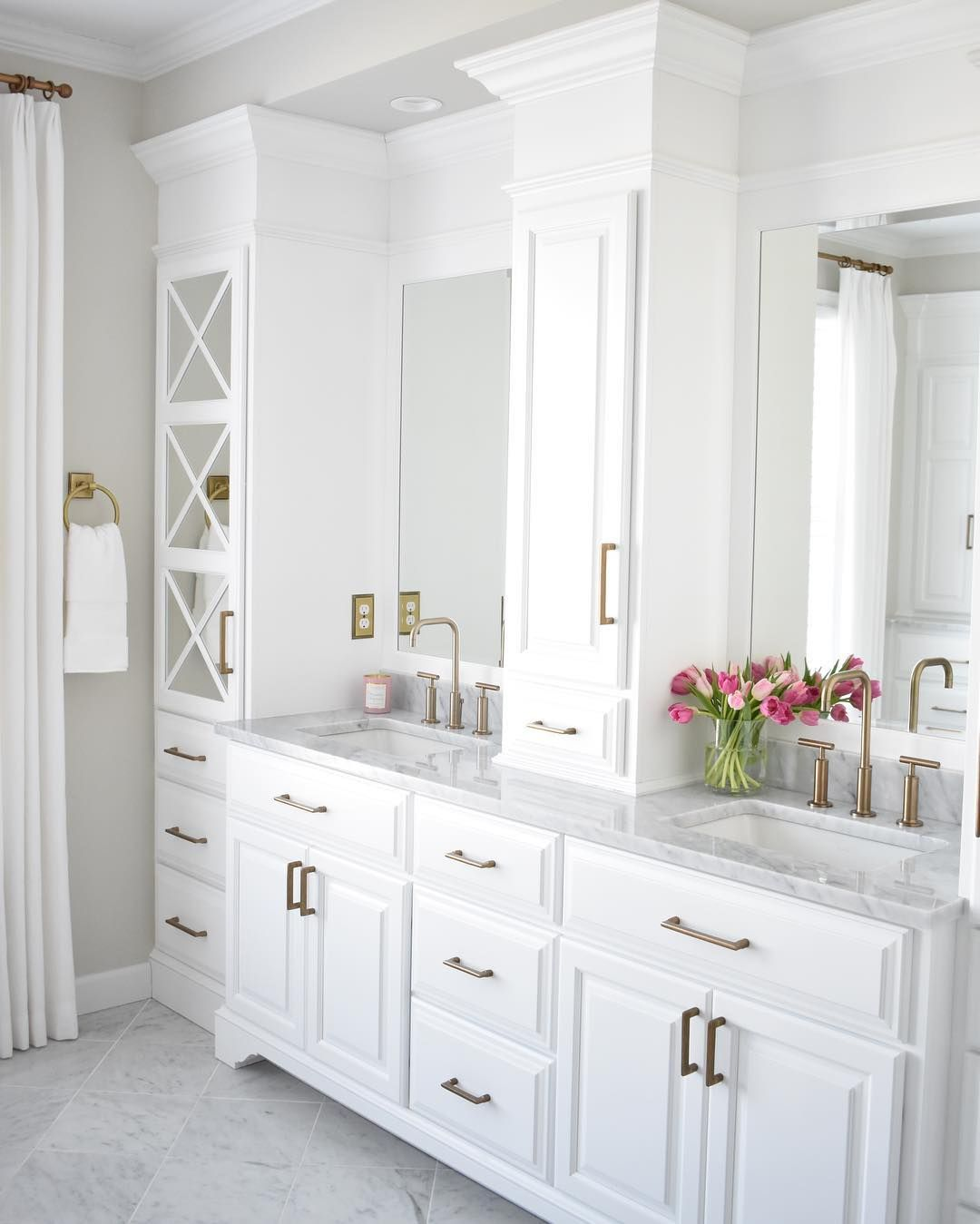 """Kate Abt Design on Instagram: """"Just can't resist - bright white, marble and brass in the master bathroom at the Pebble Beach project. . . . . . #kateabtdesign #design…"""""""