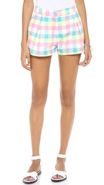 neon pastel plaid shorts summer 2014