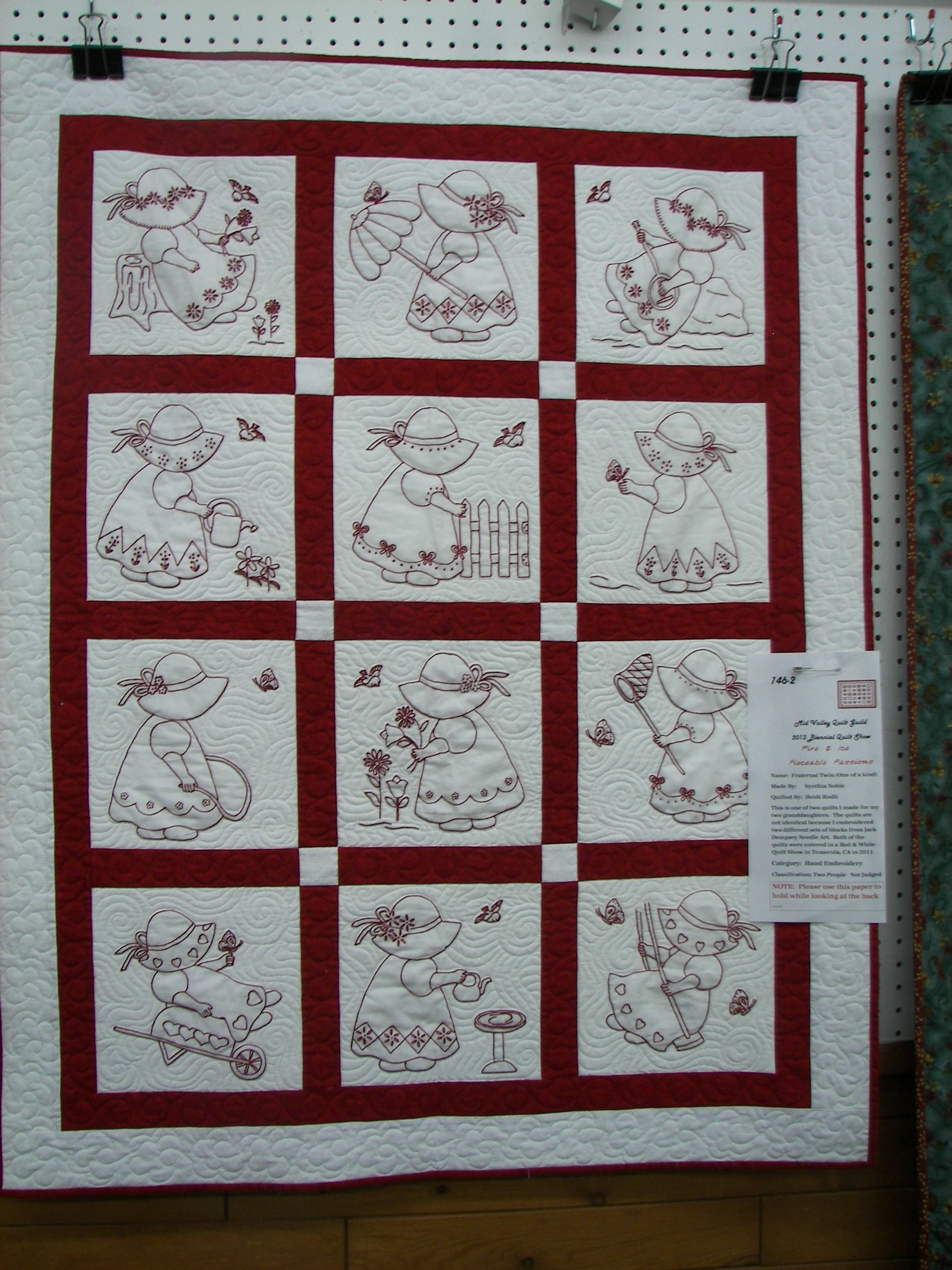 Sun Bonnet Sue Redwork Embroidery Embroidered Quilts