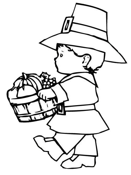 Pilgrim Boy Thanksgiving Coloring Pages Printables Thanksgiving