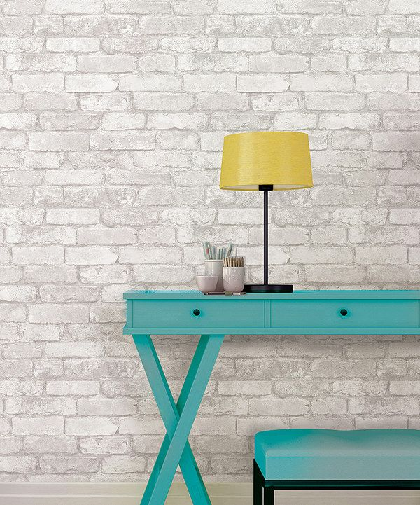 This would look awesome in my living room Look at this Gray & White Brick Peel & Stick Wallpaper on #zulily today!