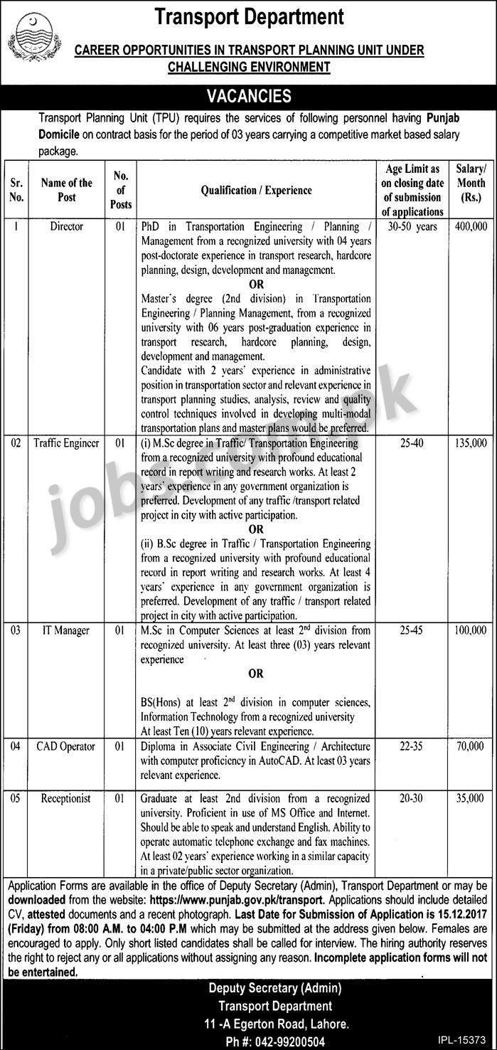 Transport Department Punjab IT Jobs 2018 Application Form