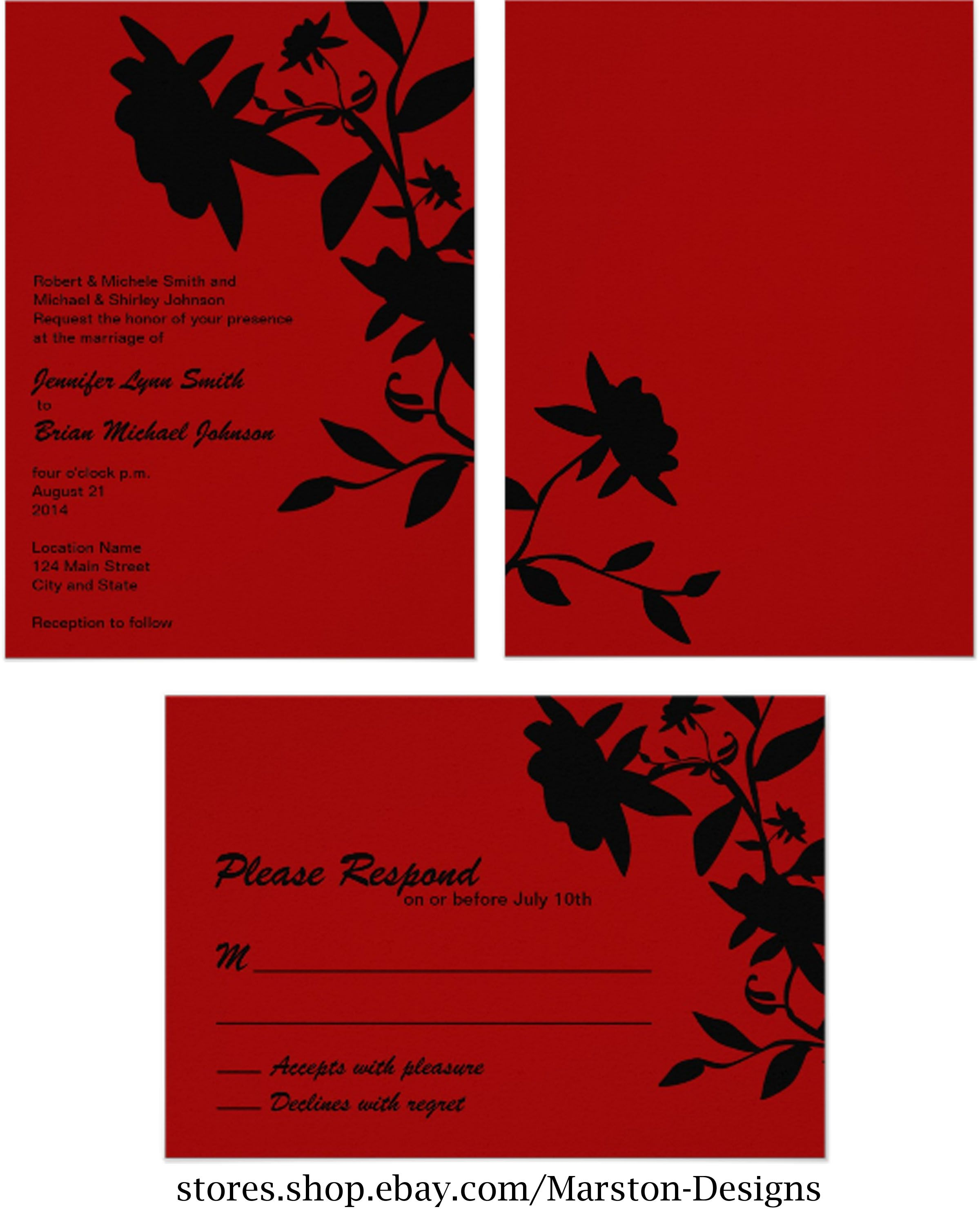 Red and black wedding invitation with black floral design. Made in ...