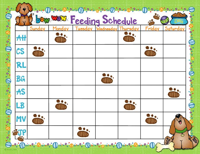 Help Kids To Remember To Feed The Dog With This Cute Feeding Chart Idea Puppy Feeding Schedule Classroom Themes Classroom