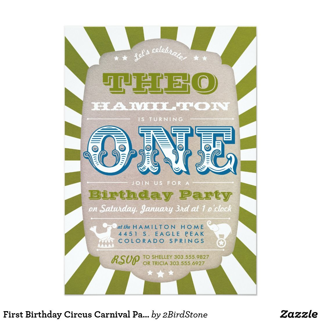 First Birthday Circus Carnival Party Invitation | Pinterest ...
