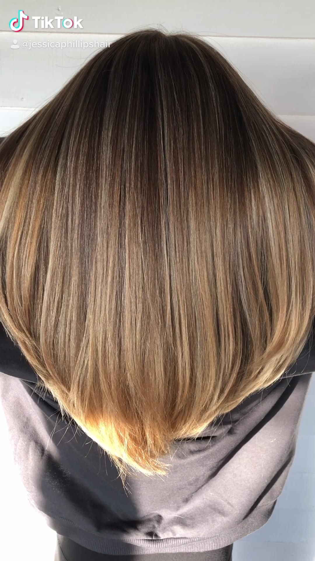 Dimensional balayage on dark brown hair