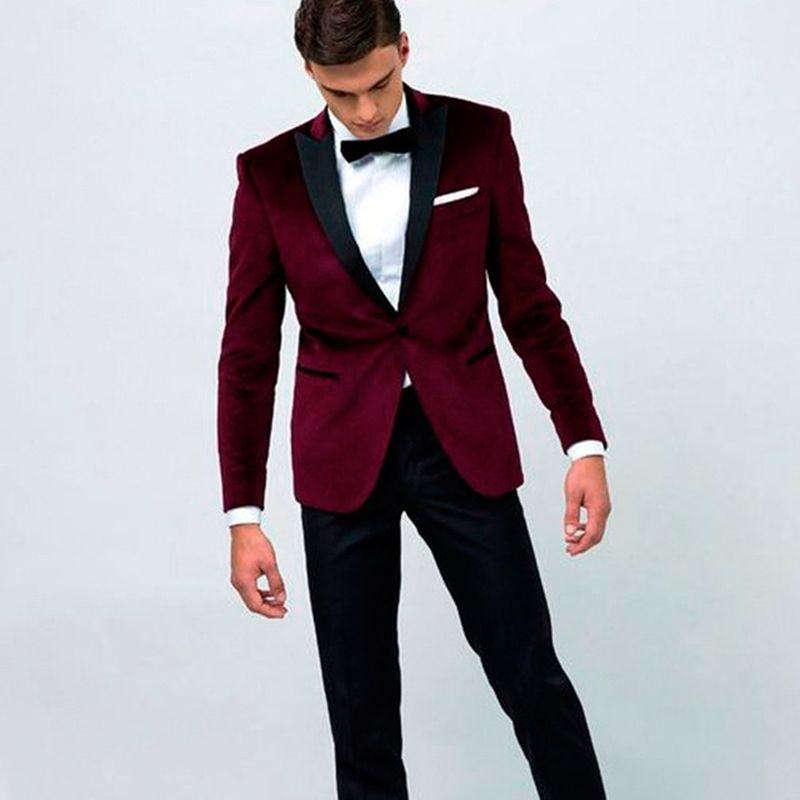Two Piece Burgundy velvet Groom Mens suit Wear 2018 Black Peaked ...