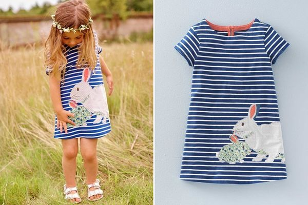 Bunny Love Embroidered Patchwork Dress