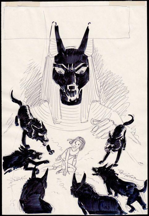 "De Gieter - Sketch for a cover - ""Le Talisman de la Grande Pyramide"" - W.B."