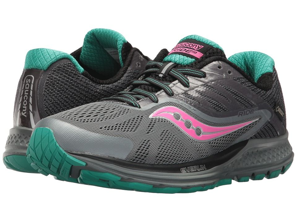 Saucony Ride 10 GTX(r) Women's Running Shoes GreyBluePink