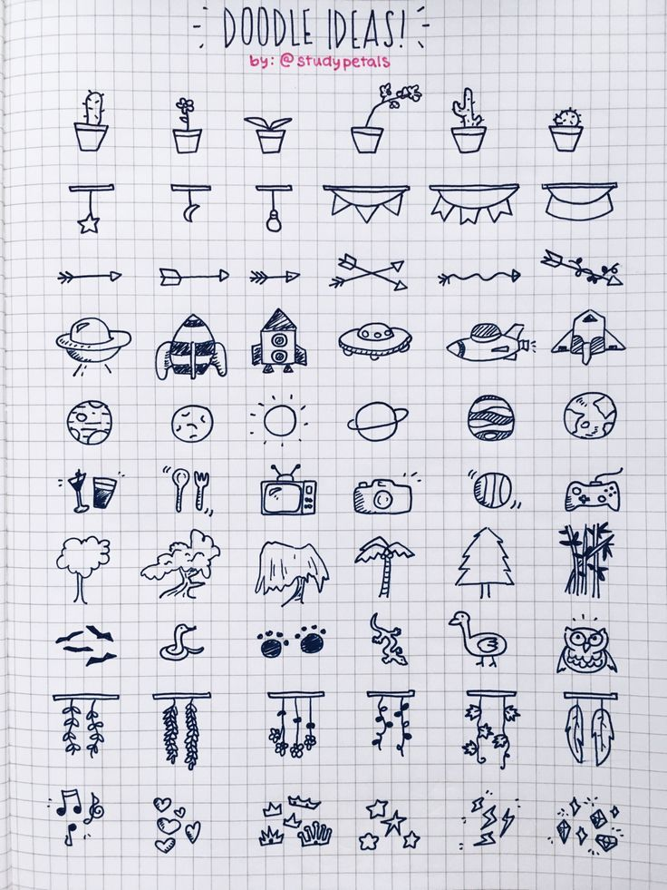 studypetals: 3.10.16+3:00pm // 13/100 days of productivity // made a doodling reference page for those who want to add some depth to their journals/notes! some of these are wacky but i hope you enjoy!