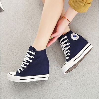 Casual Womens Lace Up Hidden Wedge Platform High-Top Sneakers Canvas Shoes