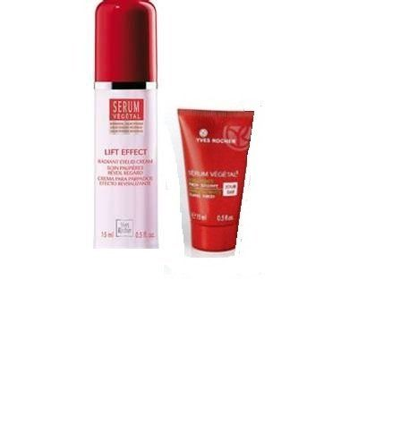 Yves Rocher Serum Vegetal with  Galactosides Lift  Effect Radiant Eyelid Cream, 0.5 fl oz. & Serum Vegetal 3 Wrinkles & Firmness Plumping Force+ Day, 15 ml by Yves Rocher. $65.00. Yves Rocher Serum Vegetal with  Galactosides Lift  Effect Radiant Eyelid Cream, 0.5 fl oz. & Serum Vegetal 3 Wrinkles & Firmness Plumping Force+ Day, 15 ml   This targeted treatment for the eye contour area smoothes away wrinkles and lifts delicate eyelid tissue. In just one month, eye...