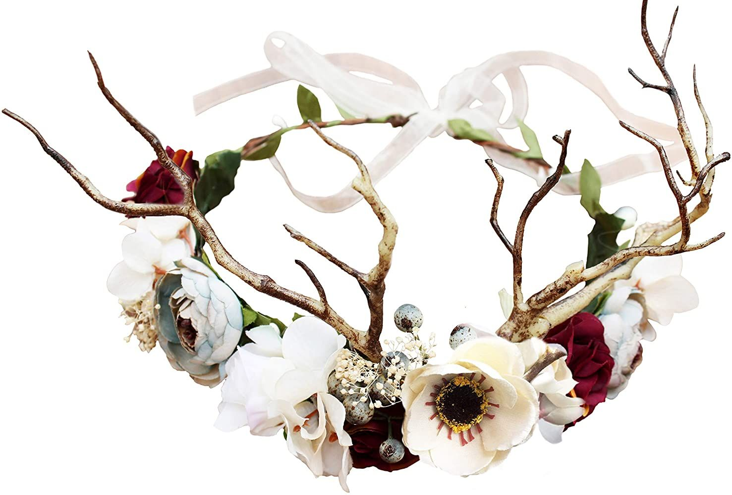Deer Flower Crown Boho Flower Headband Hair Wreath Floral Headpiece Halo with Ribbon Wedding Party Festival Photos by Vivivalue at Amazon Women's Clothing store