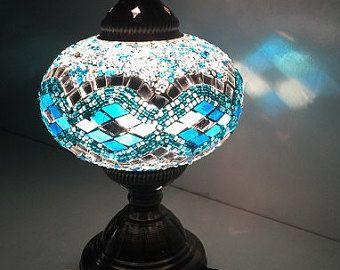 Lampe De Table Electrique Mosaique De Verre A La Par Artfulproducts Mosaic Glass Lamp Inspiration Turkish Lamps