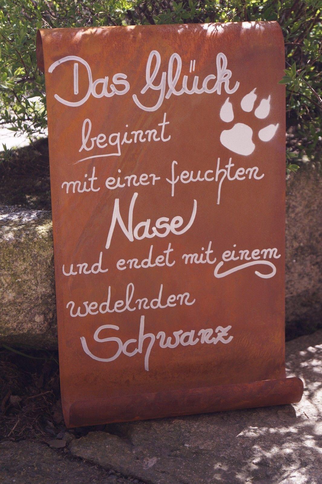 Edelrost Tafel Das Gluck Beginnt Garten Schild Spruch Hund Geschenk Text Schilder Mit Spruchen Schilder Zitate Hund Geschenke