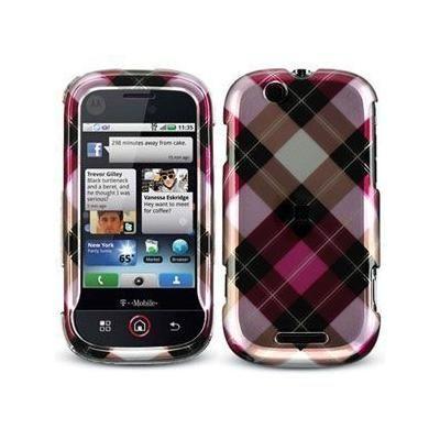 Motorola CLIQ MB200 Hot Pink Diagonal Checkered Cover