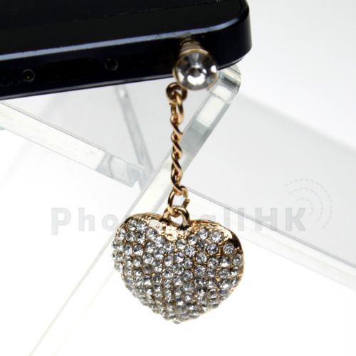 White Big Bling Heart Earphone Anti Dust Plug For iPhone 3 3GS 4 4S 5 5S 5C