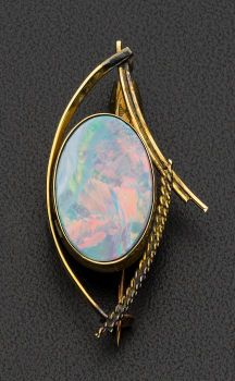 Opal Doublet Brooch 9k gold, 5.5 grams, 47 mm across, bezel set oval opal doublet