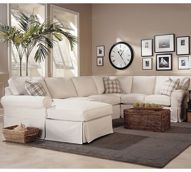 Slipcover Furniture Living Room: Masquerade C399QF Slipcovered Sleeper Sectional
