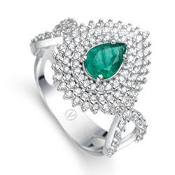 Anel Ouro Branco Diamantes e Esmeralda Boreal BRA JEWELLS VIVARA