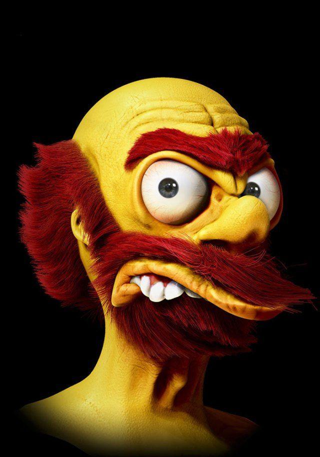 Caricaturas Realistas Willie Los Simpson Caricaturas Personajes