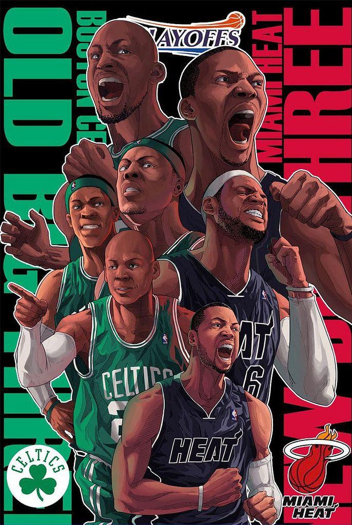 Boston Celtics Vs Miami Heat Playoffs Nba Basketball Art Nba Artwork Nba Mvp