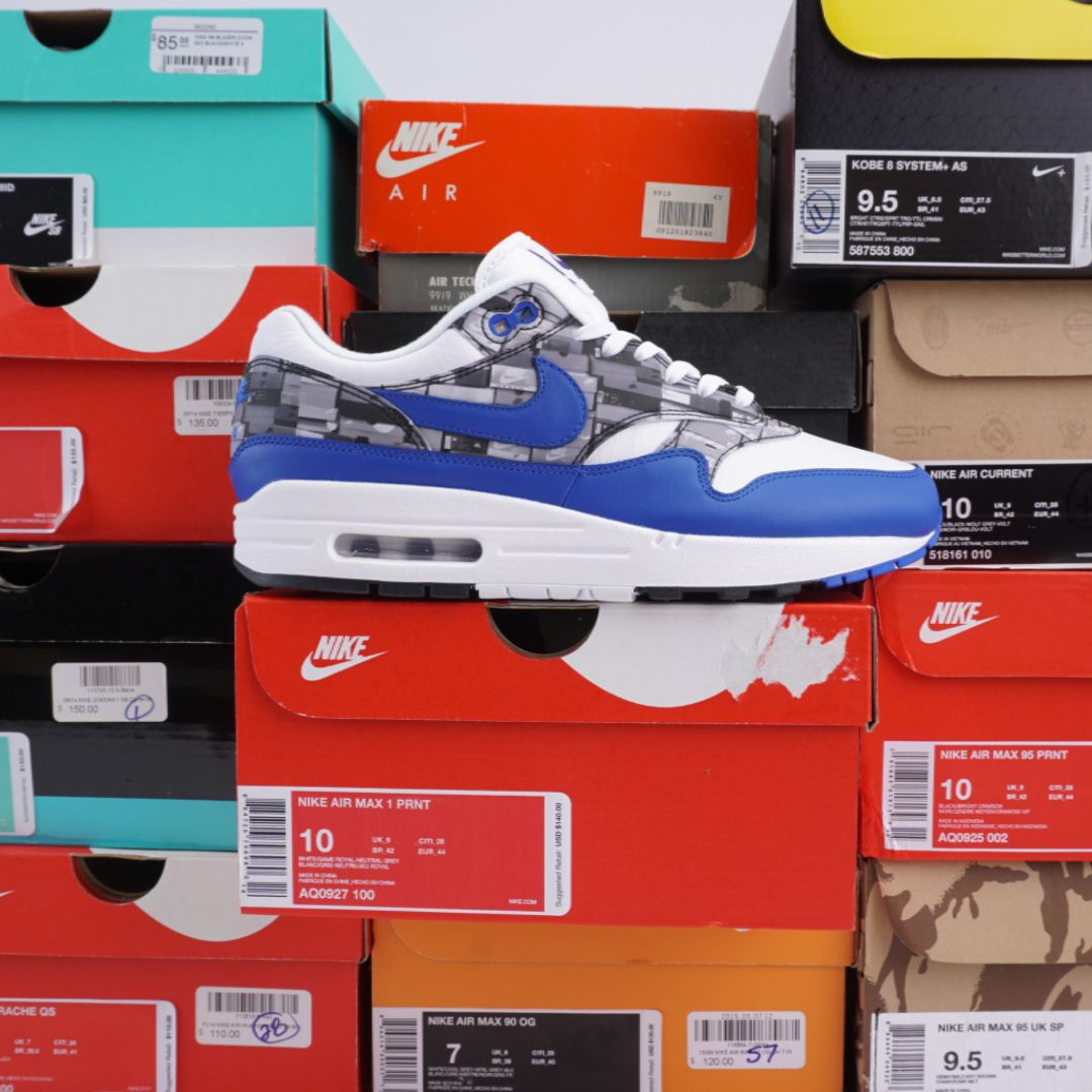 Air Max 1 Print Atmos 'We Love Nike' Grey White Royal Game Neutral AQ0927 100