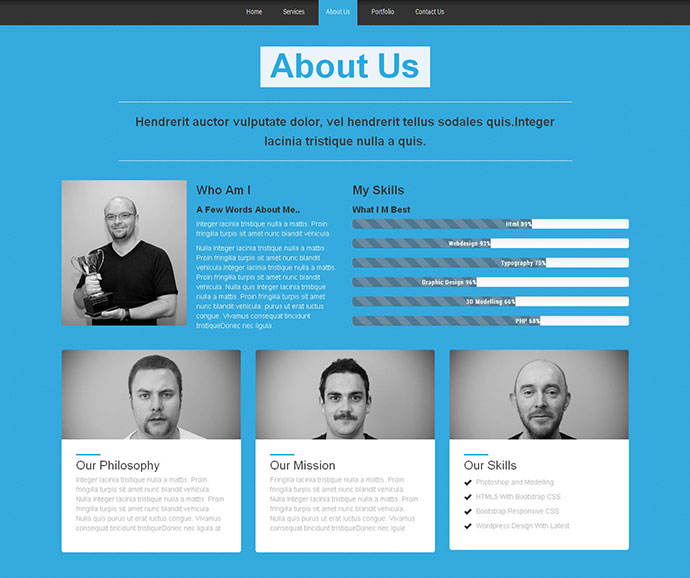 single page web template