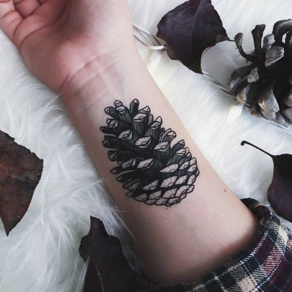 Photo of Pinecone Temporary Tattoo, Forest Findings, Pine Tree Seed Pod, Nature Tattoo