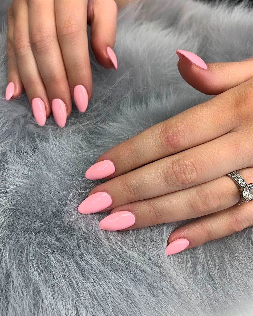 Cute Baby Pink Almond Nails Ideas In 2019 Almond Shape Nails Baby Pink Nails Pink Nails