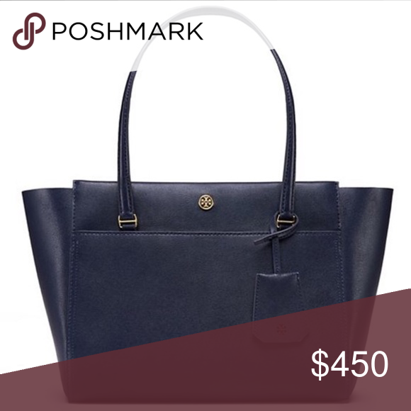 """Tory Burch Small Parker Tote- Navy/Red❤️💙 SEND OFFERS ❤️❤️❤️will include free MK wallet. Holds a 7"""" tablet, a continental wallet, sunglasses and an iPhone 6 Plus Leather Zipper closure Shoulder straps with 8.37"""" (21 cm) drop 1 exterior front pocket 2 interior hanging pockets Luggage tag Height: 9.56"""" (24 cm) Length: 11.95"""" (30 cm) Depth: 5.38"""" (13.5 cm) Tory Burch Bags Totes"""