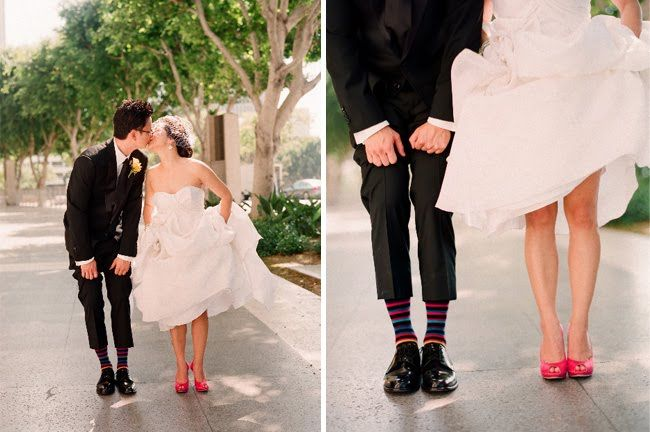 Love The Hott Pink Shoes Matching Up With Grooms Striped Socks Supercute