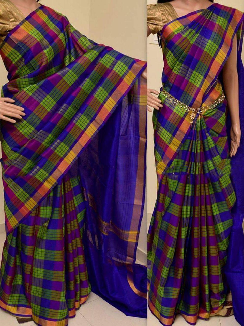 e2b0318d69 Royal blue with green and multicolor checks Uppada sarees   Uppada ...