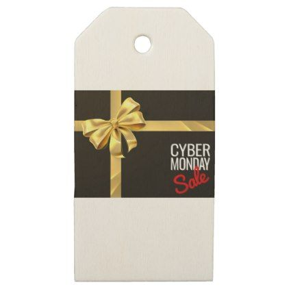 Cyber monday sale gift bow ribbon design wooden gift tags negle Image collections