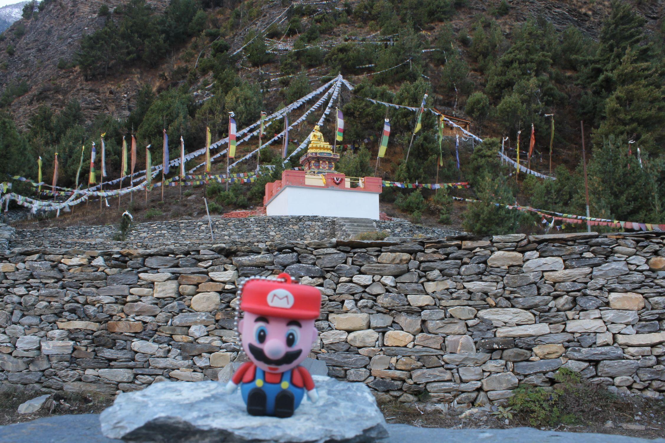 Un templo budista de Lower Pisang, Annapurnas