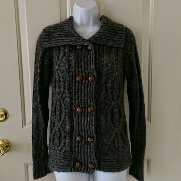 Warm Dark Grey Knit Cardigan Thick grey cardigan, very warm and ...