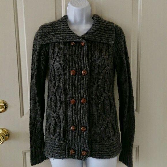 Warm Dark Grey Knit Cardigan Thick grey cardigan, very warm and ...