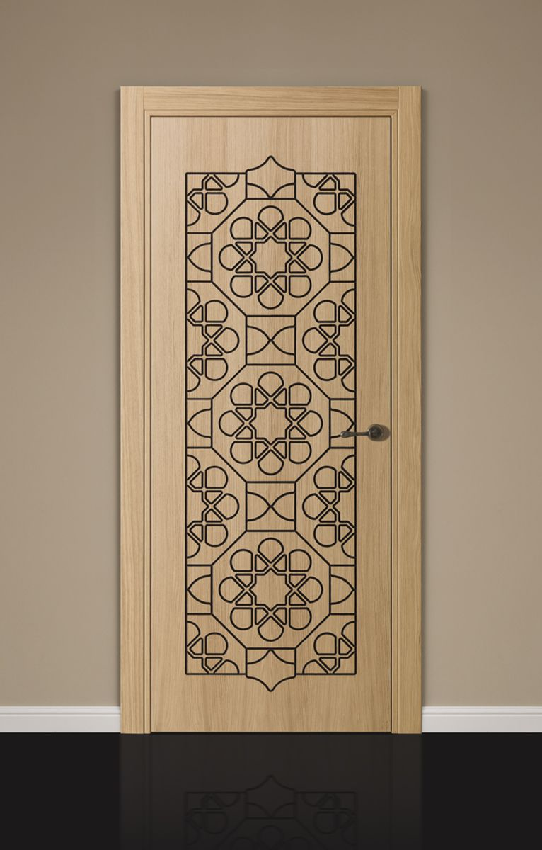 Interior door with oak wood opening type hinged collection