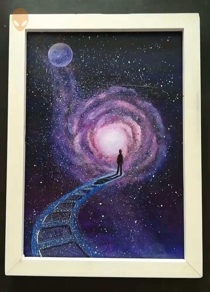 10 Star Sky Paintings Ideas For Beginners Diy Tutorials Videos Part 1 Alien Pins 10 Star Sky Pa Sky Painting Galaxy Painting Art Tutorials Watercolor
