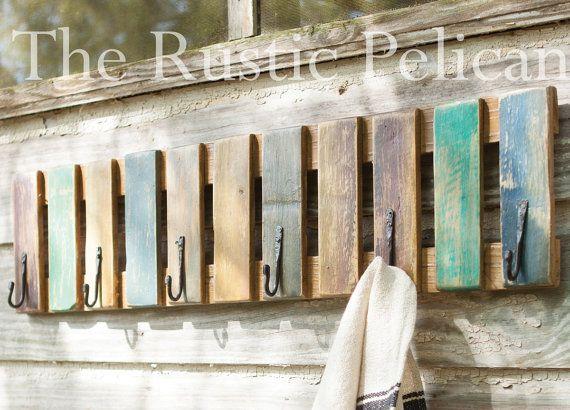 Photo of Reclaimed Wood Towel Rack – Beach Decor – Rustic Towel Rack – Nautical – Beach – Painted Wooden Towel Rack – Pool Decor – Farmhouse decor