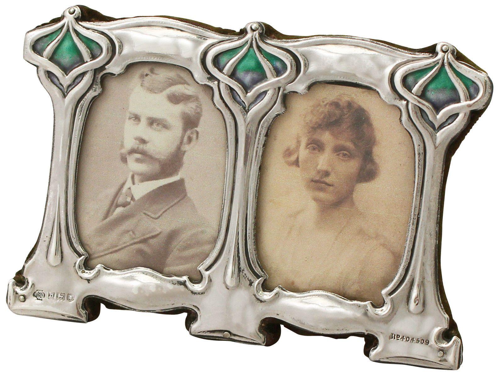 Sterling Silver & Enamel Double Photograph Frame - Art Nouveau - Antique