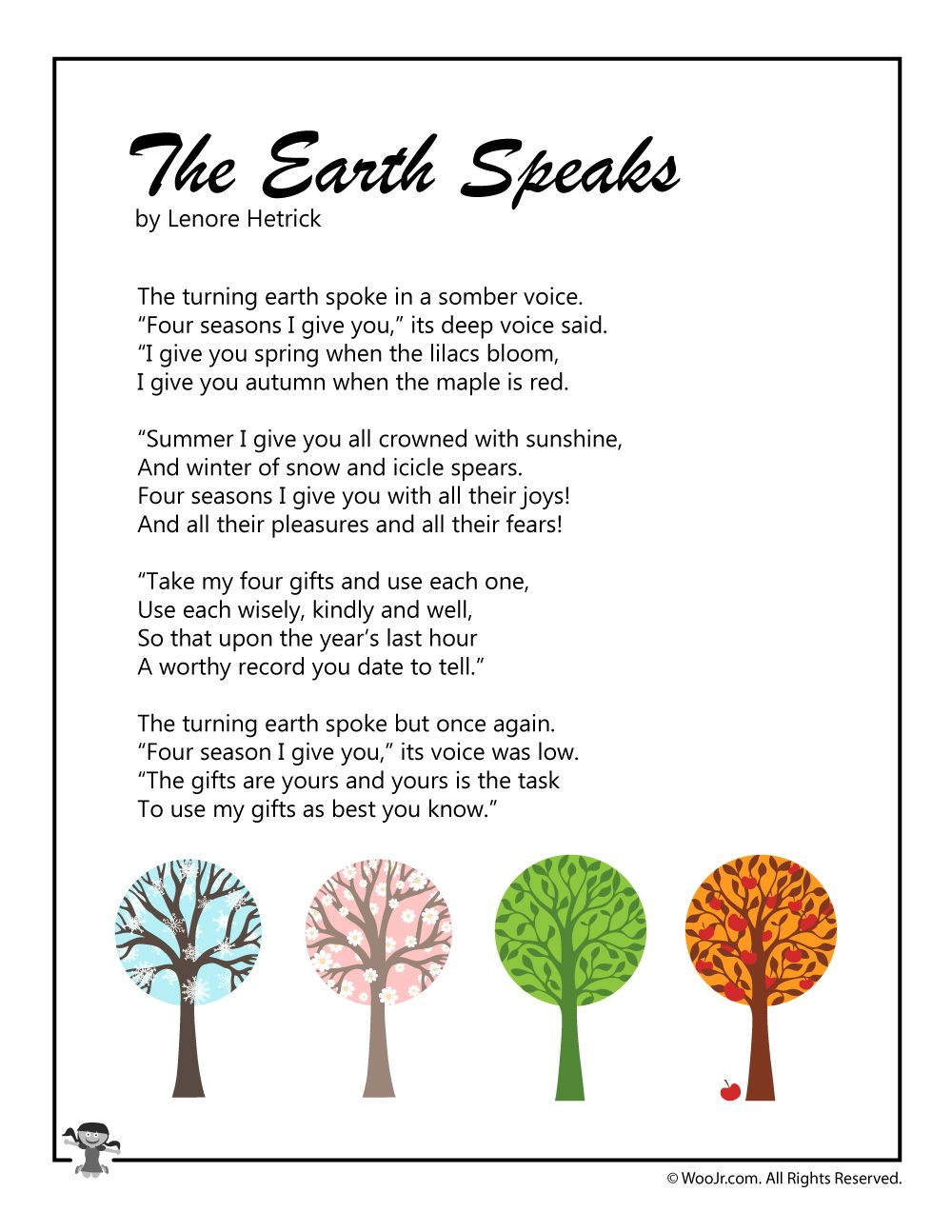 Earth Day Kids Poems Kids Poems Nature Poems For Kids